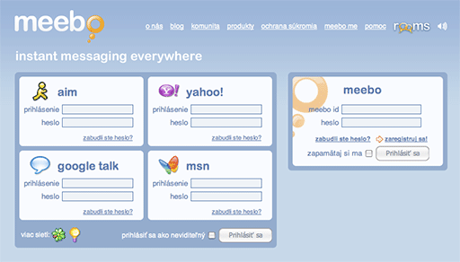 IM komunikácia cez Meebo